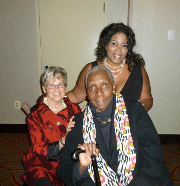 Maryse Condé and admirers at awards ceremony